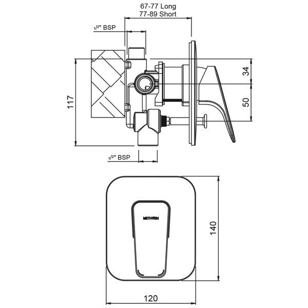 Methven Waipori Shower Mixer With Diverter Technical Drawing