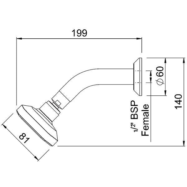 Methven Waipori Wall Shower On Modern Arm Technical Drawing