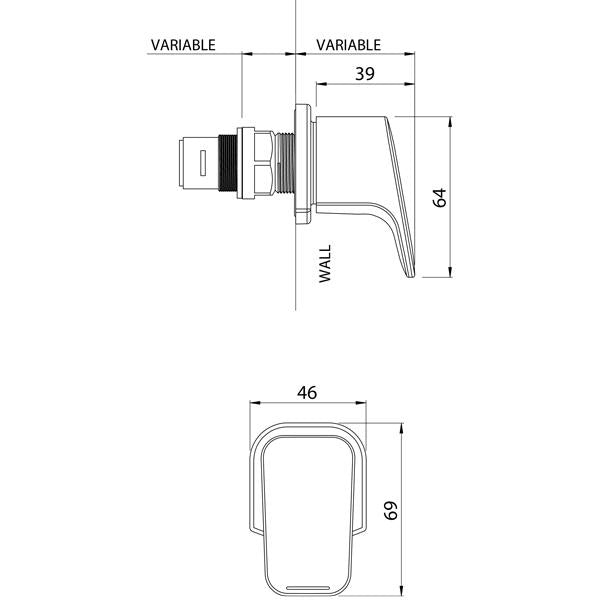 Methven Waipori Wall Top Assembly (Standard Pair) Technical Drawing