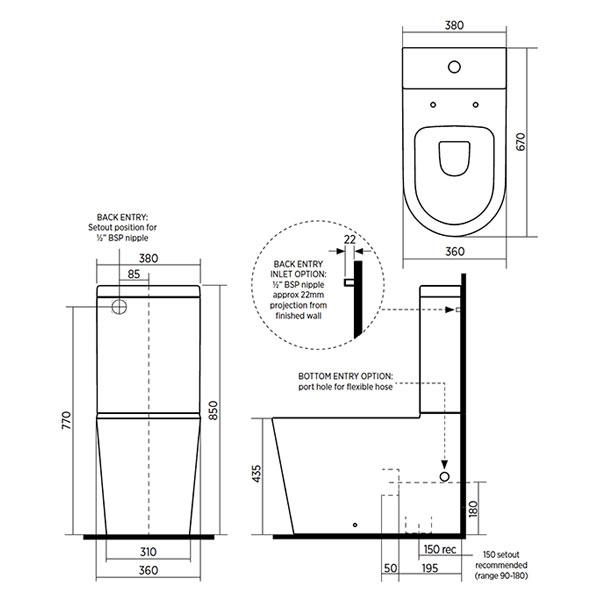 Technical Drawing - Seima Modia Clean flush Wall Faced Toilet Suite - Classic Seat