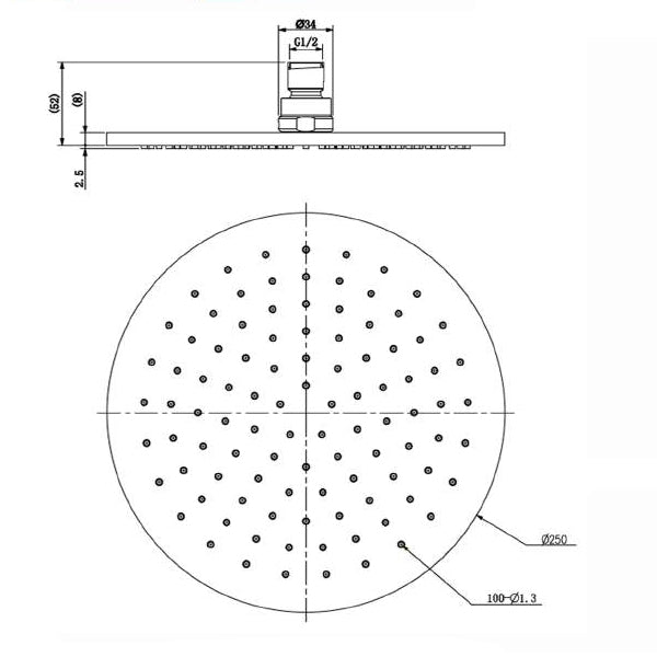 Technical Drawing - Nero Round Shower Head 250mm