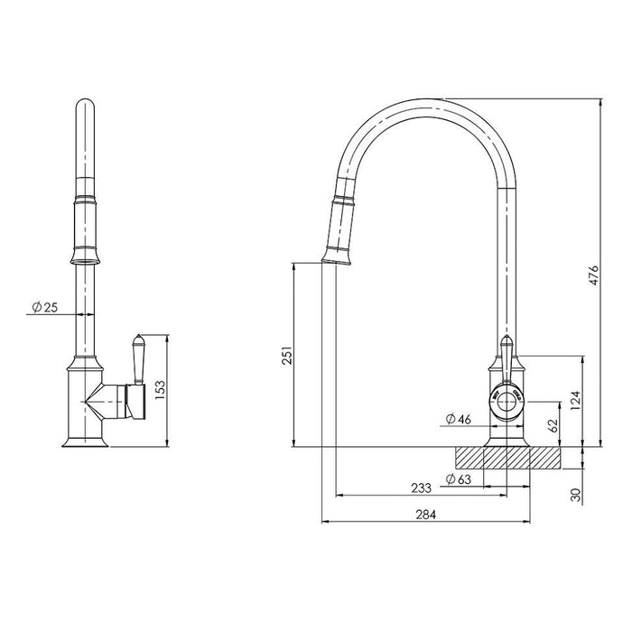 Phoenix Nostalgia Pull Out Sink Mixer-Chrome/White - specs - line drawing and dimensions