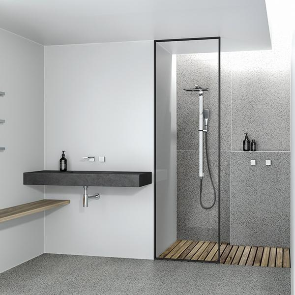 Phoenix NX Cape Twin Shower - Chrome/Black - In modern bathroom