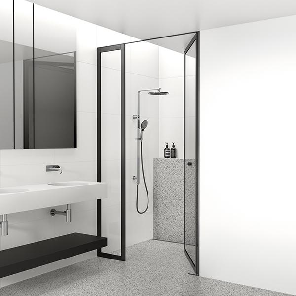 Phoenix NX Quil Twin Shower - Chrome/Black in modern bathroom design