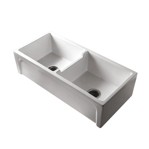 Turner Hastings Patri Farmhouse 100 x 47 Fine Fireclay Double Bowl Butler Sink - The Blue Space