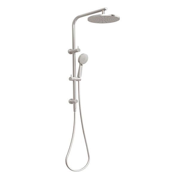 Vivid Slimline Twin Shower - Brushed Nickel Online at The Blue Space