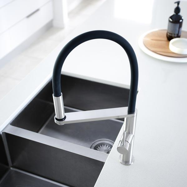 Phoenix Blix Flexible Hose Sink Mixer (Round) - Brushed Nickel with double bowl sink - white benchtop