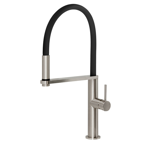 Phoenix Blix Flexible Hose Sink Mixer (Round) - Brushed Nickel - The Blue Space