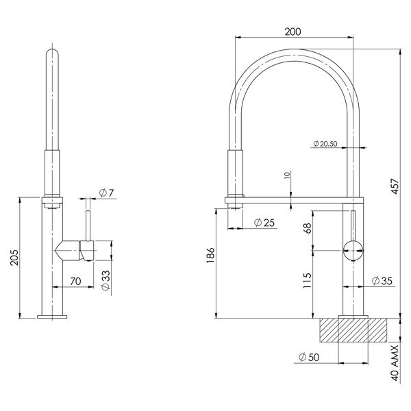 Phoenix Blix Flexible Hose Sink Mixer (Round) - Brushed Nickel - specs - line drawing and dimensions