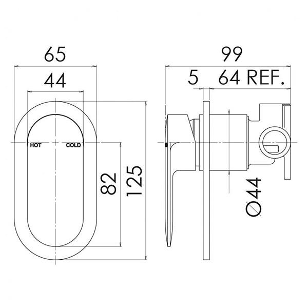 Phoenix Cerchio Shower/Wall Mixer - specs - line drawing and dimensions