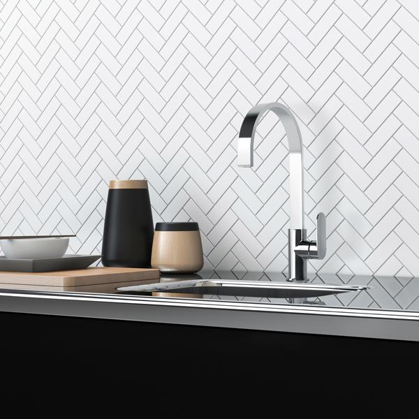 Phoenix Cerchio Sink Mixer in kitchen with white tiles