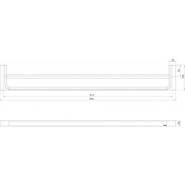Phoenix Gloss Double Towel Rail 800mm Matte Black Technical Drawing - The Blue Space
