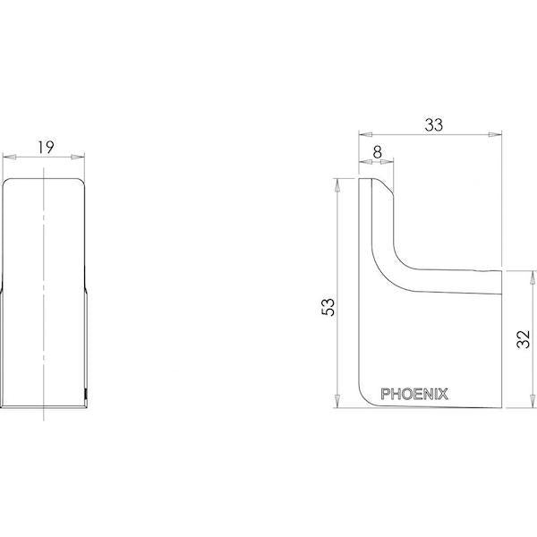 Phoenix Gloss Robe Hook-Matte Black specs - line drawing and dimensions