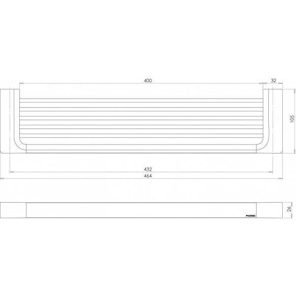 Phoenix Gloss Shower Shelf-Chrome specs - line drawing and dimensions