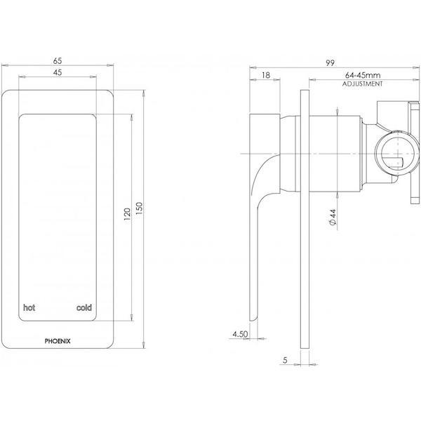 Phoenix Gloss Shower/Wall Mixer specs - line drawing and dimensions