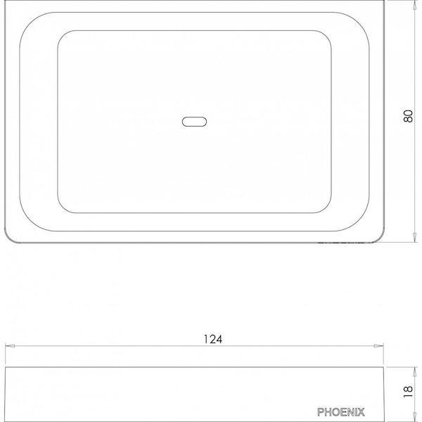 Phoenix Gloss Soap Dish Matte Black Technical Drawing - The Blue Space