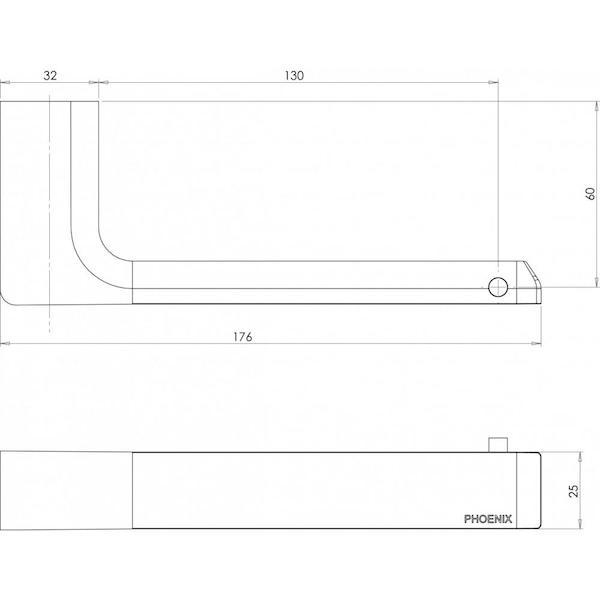 Phoenix Gloss Toilet Roll Holder-Brushed Nickel - specs - line drawing and dimensions