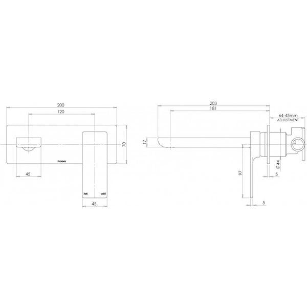 Phoenix Gloss Wall Basin/Bath Set - specs - line drawing and dimensions