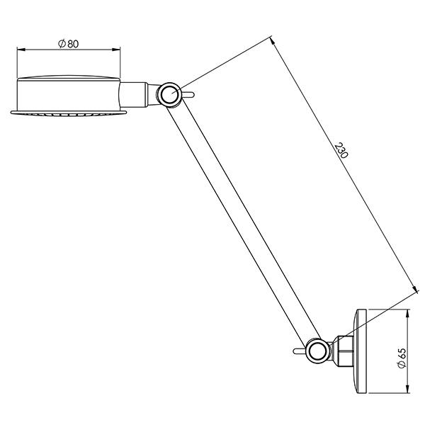 Phoenix Ivy Universal Shower specs - line drawing and dimensions