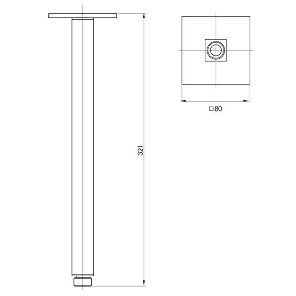 Phoenix Lexi Ceiling Arm Only 300mm Square-Matte Black specs - line drawing and dimensions