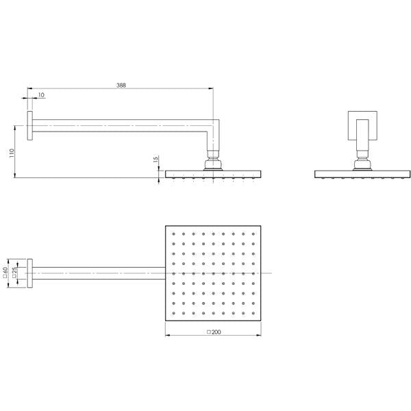 Phoenix Lexi Shower Arm 400mm & 200mm Square Rose - specs - line drawing and dimensions