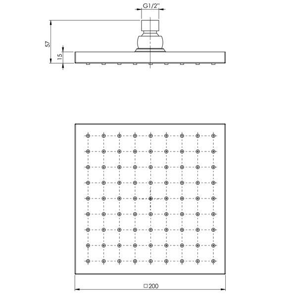 Phoenix Lexi Shower Rose Only 200mm Square - Gun Metal - specs - line drawing and dimensions