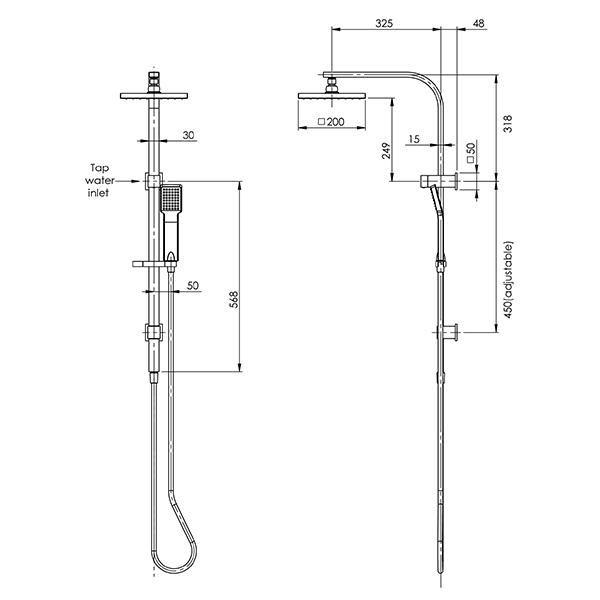 Phoenix Lexi Twin Shower - Brushed Nickel - specs - line drawing and dimensions