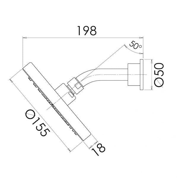 Phoenix Vivid Slimline Shower Arm & Rose 155mm - specs - line drawing and dimensions
