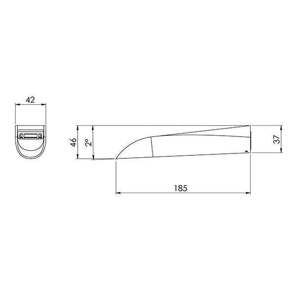 Phoenix Nara Bath Outlet 185mm specs - line drawing and dimensions