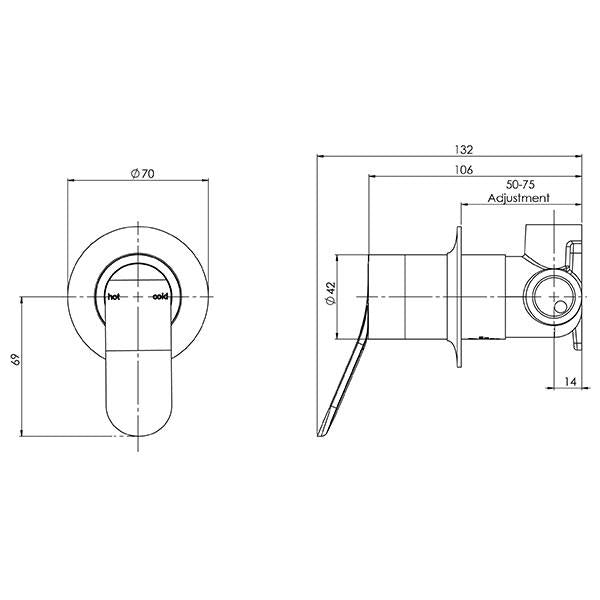 Phoenix Nara Shower/Wall Mixer -  specs - line drawing and dimensions