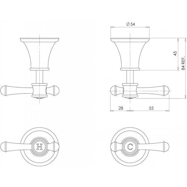 Technical Drawing - Phoenix Nostalgia Lever Wall Top Assemblies specs - line drawing and dimensions