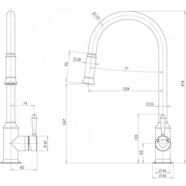 Phoenix Nostalgia Pull Out Sink Mixer-Chrome specs - line drawing and dimensions