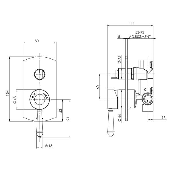 Phoenix Nostalgia Shower / Bath Diverter Mixer- Chrome/White specs - line drawing and dimensions