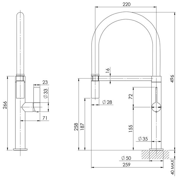 Technical Drawing - Phoenix Prize Flexible Coil Sink Mixer-Chrome