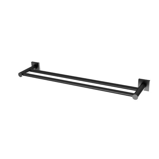 Phoenix Radii Double Towel Rail Square Plate - Matte Black - The Blue Space