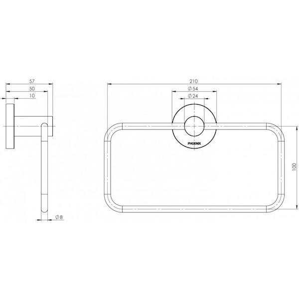 Technical Drawing - Phoenix Radii Hand Towel Holder Round Plate - Chrome