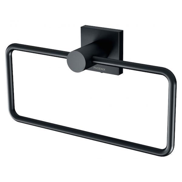 Phoenix Radii Hand Towel Holder Square Plate - Matte Black - The Blue Space
