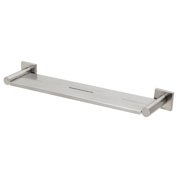 Phoenix Radii Metal Shelf Square Plate-Brushed Nickel 450mm
