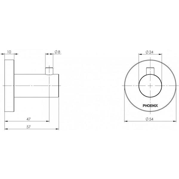 Phoenix Radii Robe Hook Round Plate Matte Black Technical Drawing - The Blue Space