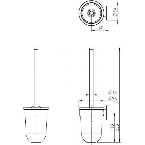 Phoenix Radii Toilet Brush & Holder Round Plate Technical Drawing - The Blue Space