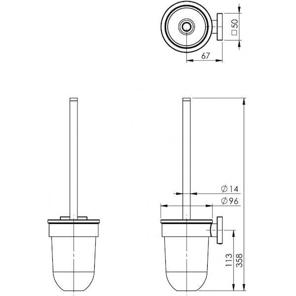Phoenix Radii Toilet Brush & Holder Square Plate Technical Drawing - The Blue Space