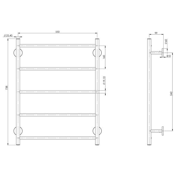 Phoenix Radii Towel Ladder 550 x 740mm Round Plate Technical Drawing - The Blue Space