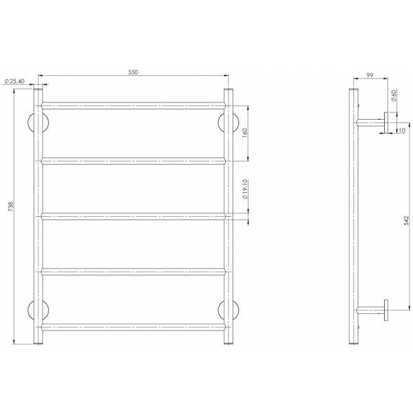 Phoenix Radii Towel Ladder Round Plate 550mm Technical Drawing - The Blue Space