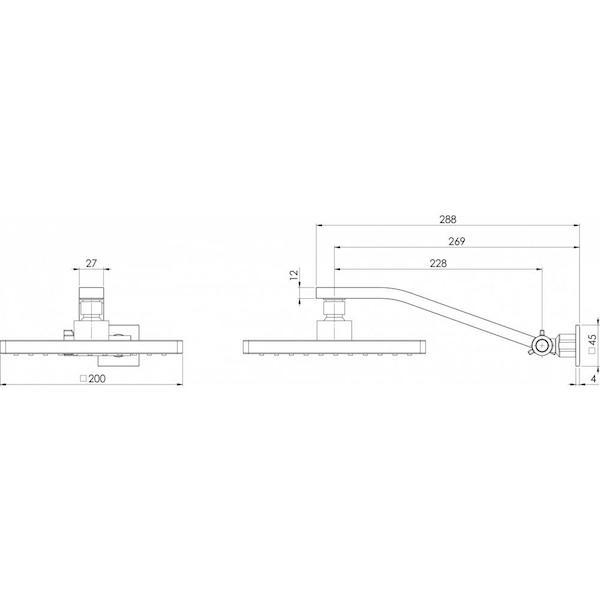 Phoenix Lexi Universal Arm & Square Rose -  specs - line drawing and dimensions