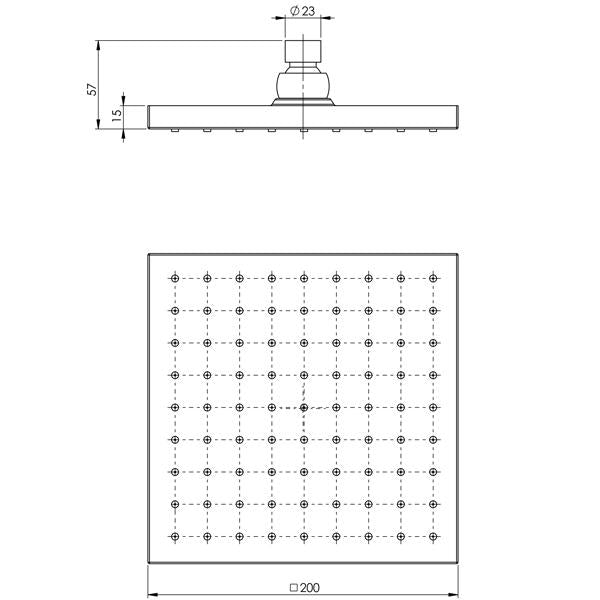 Phoenix Lexi Shower Rose Only 200mm Square - Matte Black specs - line drawing and dimensions