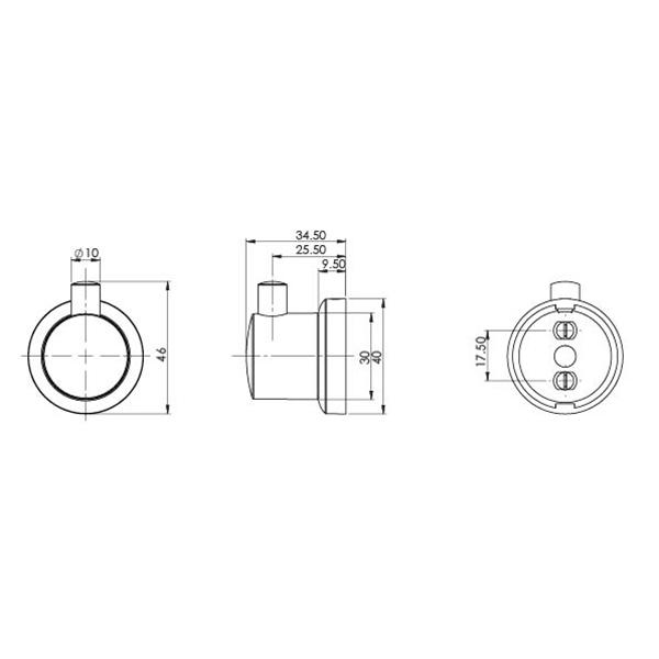 Phoenix Subi Robe Hook Technical Drawing - The Blue Space