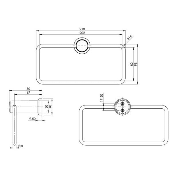 Phoenix Subi Hand Towel Holder Technical Drawing - The Blue Space