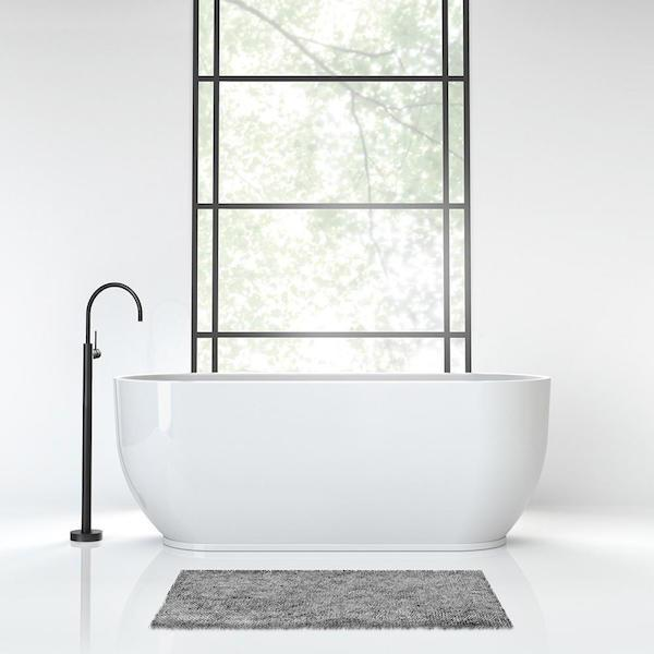 Phoenix Vivid Slimline Floor Mounted Bath Mixer-Matte Black - the blue space