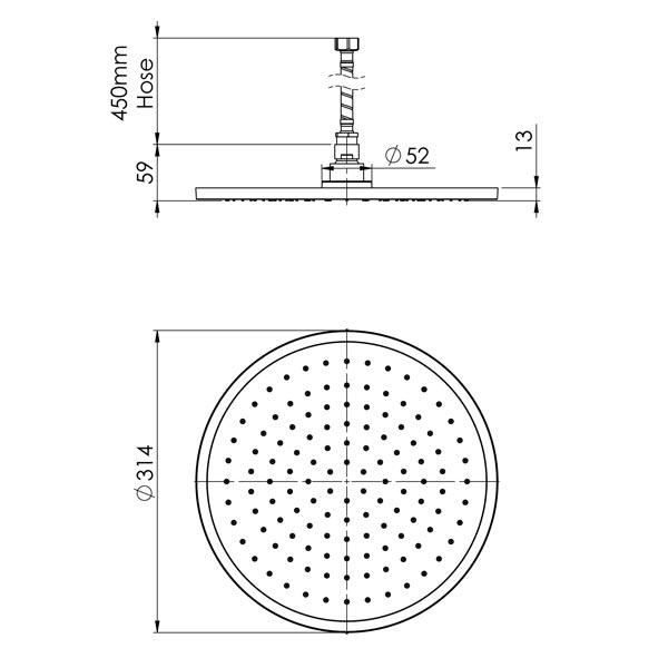 Phoenix Vivid Slimline Flush Mount Ceiling Shower 300mm Round specs - line drawing and dimensions