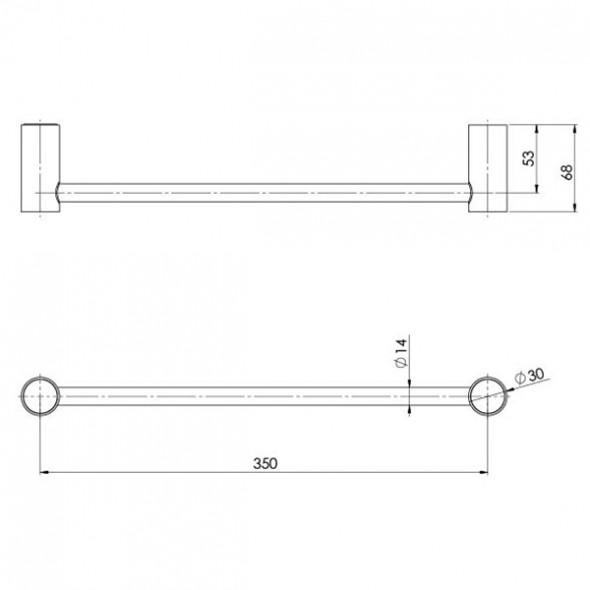 Phoenix Vivid Slimline Hand Towel Rail Technical Drawing  The Blue Space